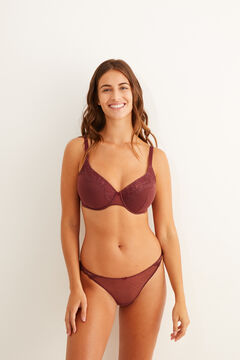 Womensecret Plumetis and lace underwired burgundy bra red