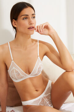 Womensecret NATURAL White lace and tulle triangle bra white