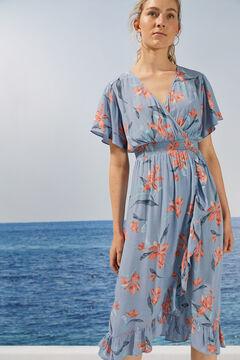 Womensecret Robe longue florale volants durable bleu