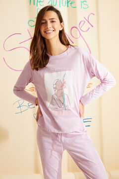 Womensecret Long lilac printed organic cotton pyjamas pink