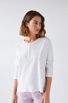 Womensecret Grey cotton long-sleeved Henley T-shirt grey