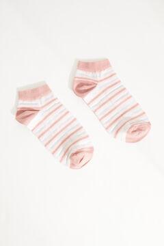 Womensecret Lurexmintás, rózsaszín csíkos rövid pamutzokni rávasalt mintás