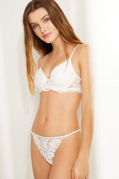 Womensecret White lace strappy Brazilian panty white