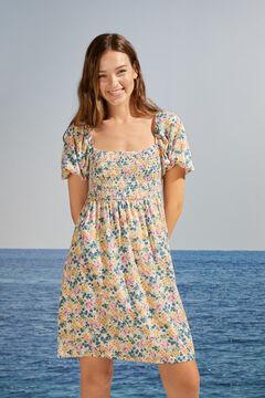Womensecret Floral short puffed sleeve dress  white