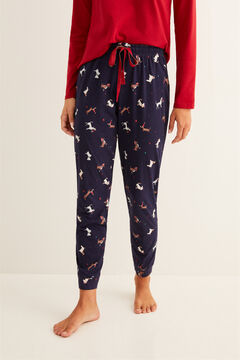 Womensecret Long navy Christmas print pyjama bottoms blue