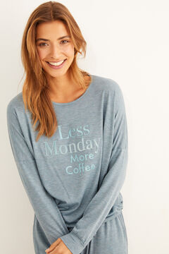 "Womensecret Long green ""Less Monday"" pyjamas green"