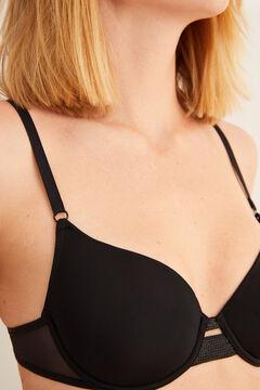 Womensecret Sujetador clásico relleno tul detalles strass negro