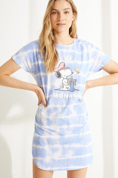 Womensecret Camisa de dormir curta malha 100% algodão tie-dye azul