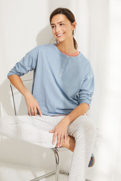 Womensecret Blue cotton long-sleeved Henley top blue