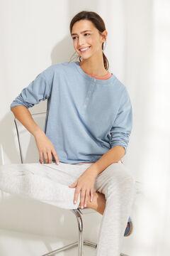Womensecret Camiseta panadera manga larga algodón azul azul