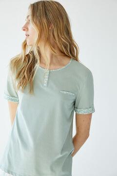 Womensecret Organic cotton short-sleeved capri pyjamas green