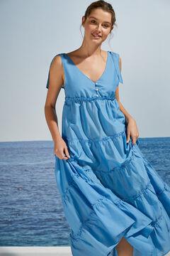 Womensecret Long 100% cotton tie waist dress blue
