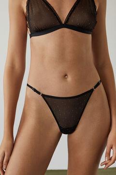 Womensecret Black tulle and lace Brazilian panty black