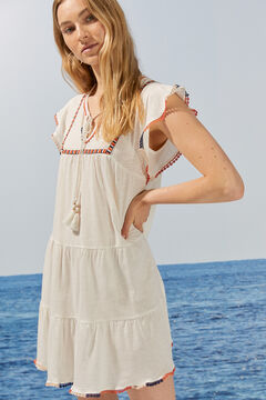 Womensecret Short cape sleeve embroidered dress with pompoms beige
