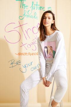 Womensecret Pijama comprido algodão orgânico branco cinzento