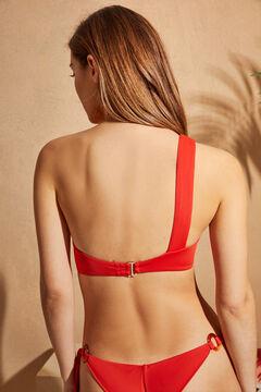 Womensecret Top bikini asimétrico drapeado rojo