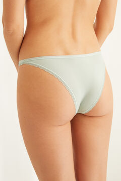 Womensecret Green Brazilian microfibre and lace panty green