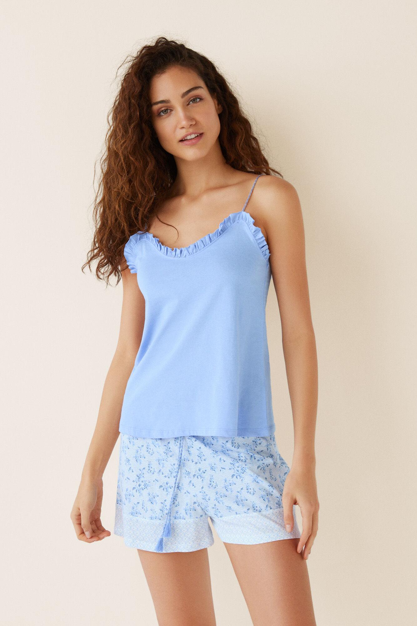 7fcdf23b81a4 Pijama corto algodón azul camiseta tirantes | Pijamas cortos | Women ...