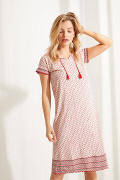 Womensecret  Vestido camisón midi algodón 100% estampado floral rojo estampado