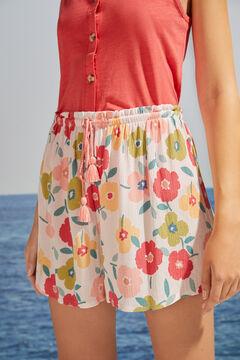 Womensecret Pantalon court imprimé floral blanc