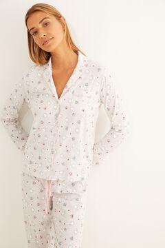 Womensecret Langer Pyjama Hemdlook Grau Miffy Weiß