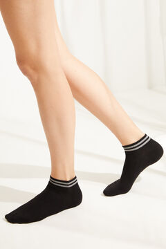 Womensecret 3-pack black lurex cotton short socks black