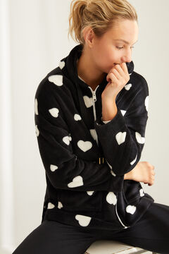 Womensecret Long-sleeved heart robe black