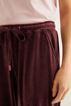 Womensecret Super Comfort stretch velvet trousers in maroon printed