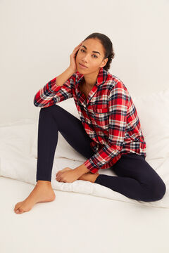 Womensecret Pijama comprido camiseiro xadrez impressão