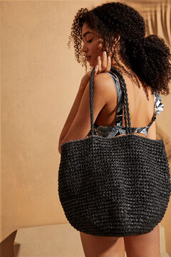 Womensecret Black raffia bag with pompoms black