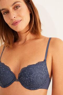 Womensecret blue microfibre and lace push-up bra blue
