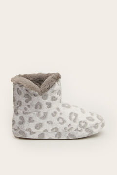 Womensecret Zapatilla casa bota animal print gris