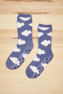 Womensecret Fluffy blue clouds socks blue