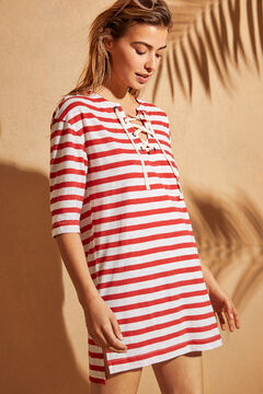 Womensecret Red striped jersey-knit tunic dress printed