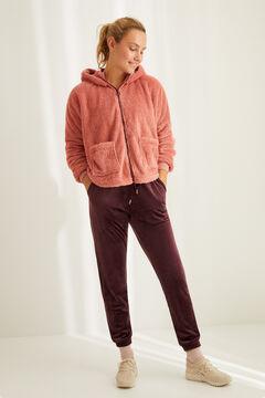 Womensecret Bata corta polar esponjosa rosa rosa