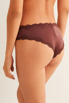 Womensecret Brown full Brazilian microfibre and lace panty nude