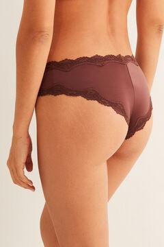Womensecret Culotte large tanga microfibre avec dentelle marron nude
