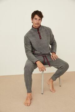 Womensecret Pijama largo polar gris cuadros gris
