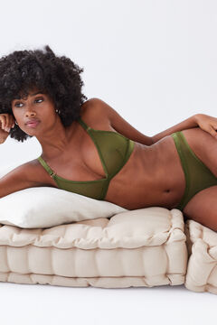 Womensecret Classic panty in khaki tulle printed