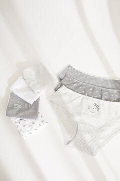 Womensecret Lot 7 culottes larges classiques coton Hello Kitty gris