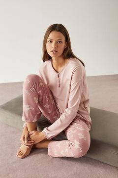 Womensecret Long pink floral pyjamas in 100% organic cotton pink