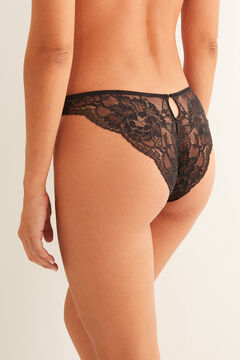 Womensecret Classic tulle and lace panty black