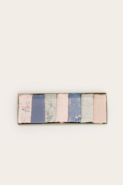 Womensecret 7-pack classic cotton floral print panties blue