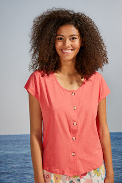 Womensecret Coral 100% cotton short-sleeved top red