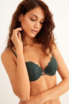 Womensecret Strappy green lace push-up bra green