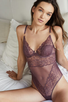 Womensecret Classic maroon lace body printed