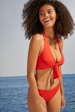 Womensecret Red halterneck triangle bow-front bikini red