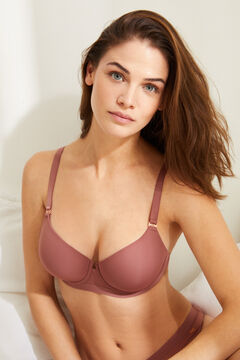 Womensecret Classic pink microfibre and tulle padded bra pink