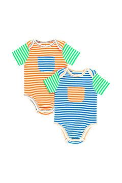 Womensecret Pack 2 bodys canelado às riscas do bebê - Algodão orgânico verde