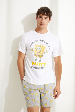 Womensecret Grey Spongebob short pyjamas with short sleeves white